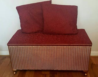 Lusty Lloyd Loom Ottoman Bedding Chest Claret Red Gold Copper Queen Anne Feet Restored Vintage 1950s 1960s Matching Pair Cushions