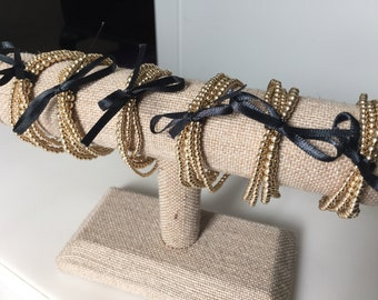 "Golden ""caviar"" - gold filled beaded stretch bracelets"