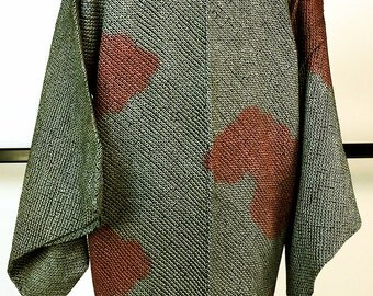 K191 Japanese Black and Red Soshibori Eba-Haori Kimono Jacket Vintage
