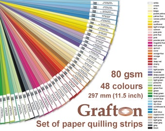 Paper Quilling Strips Supplies, Set of Quilling Paper, Solid Colors, 80 gsm, 297 long, 48 colors, 2mm, 3mm, 5mm, 6mm, 10mm, 1/8, 1/4, 1/2
