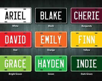 Pair of Personalized License Plate Stickers (choose your wording and colour)