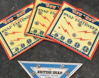 Vintage | Press Studs | Snap Fasteners | Made in England