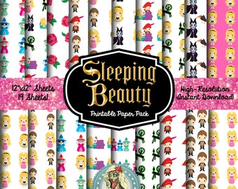 SLEEPING BEAUTY Scrapbook Paper, Maleficent, Princess Aurora, Flora Fauna Merryweather, Digital Paper, Sleeping Beauty Spinning Wheel, Fauna