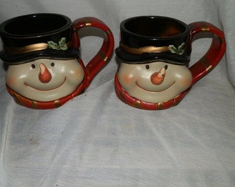 Vintage, Puffy Cheeked, Raised Carrot Nose, Snowman, Cocoa, Mugs - (2)