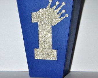 Royal Prince First Birthday Party Favor Box for Popcorn or Candy, Royal Blue & Gold Little Prince Crown