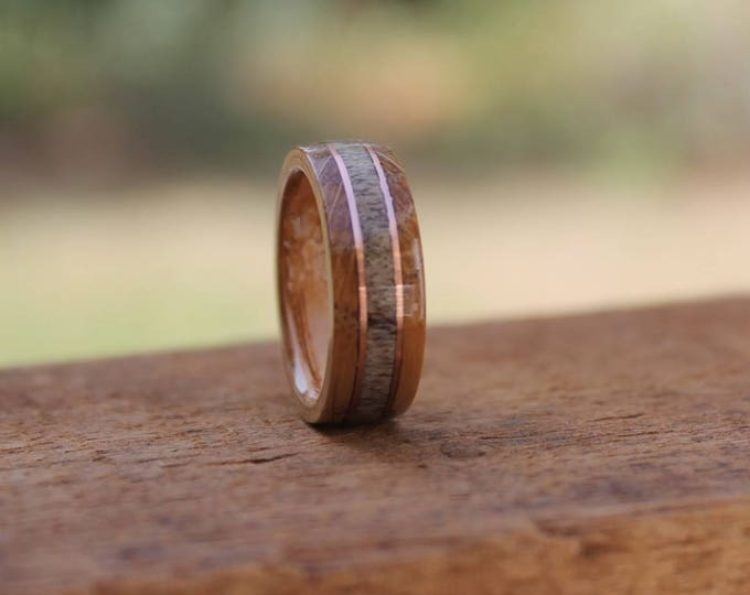 Featured listing image: Jack Daniel's Reclaimed Whiskey Barrel Ring with Caribou Antler Inlay & Copper