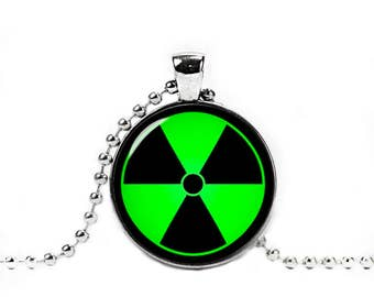 Green Radiation Symbol Necklace Pendant Geeky Fangirl Fanboy