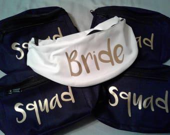 Bride fanny pack | Squad | Bride purse | Bachelorette party | Favors | Wedding party | Bridal shower | Bridesmaid | personalized | Waist bag