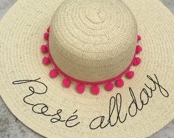 floppy hat embroidered - rose all day - straw hat - gift - summer hat - hat with words - beach hat - floppy beach hat - birthday - wine