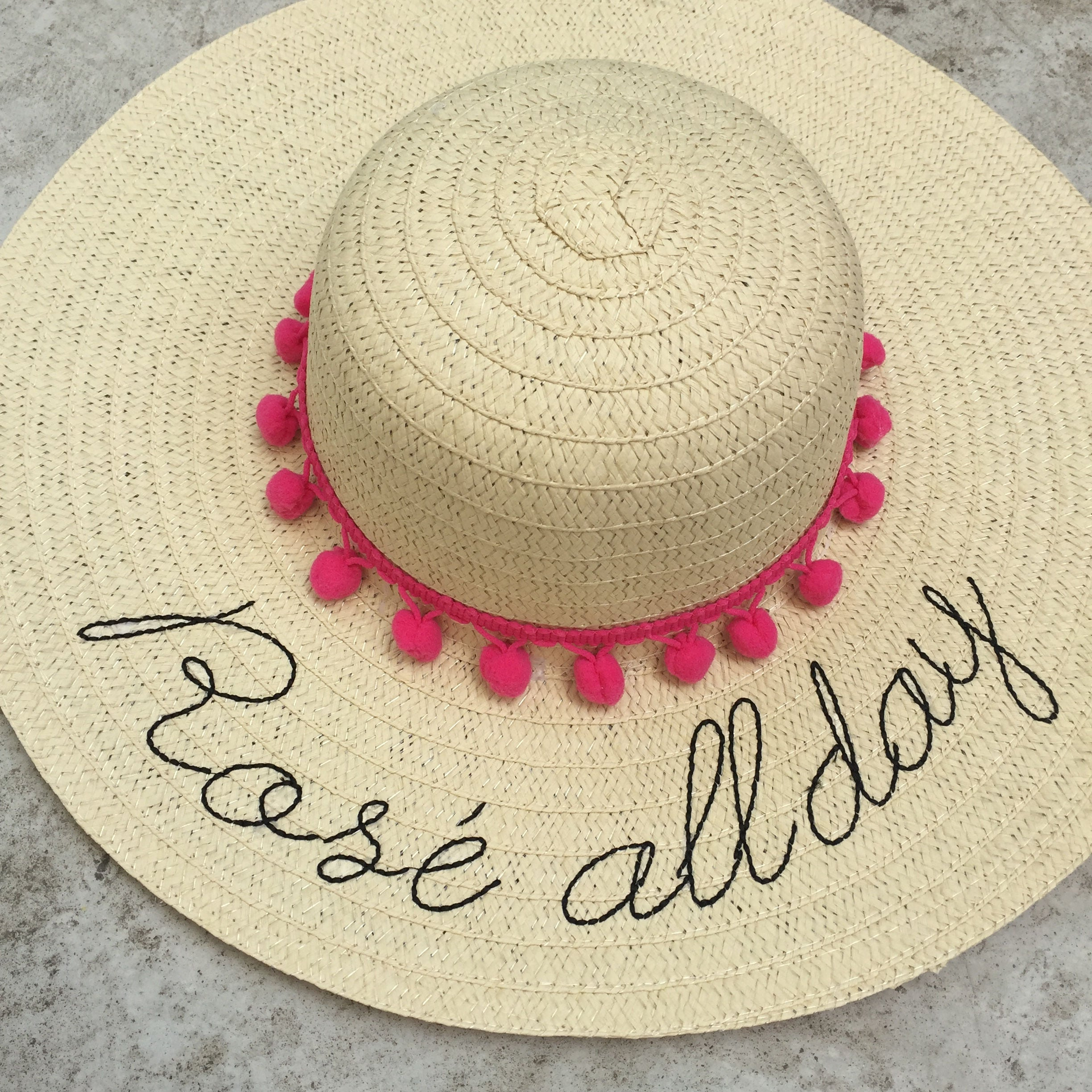 Floppy Hat Embroidered  Rose All Day  Straw Hat  Gift  Summer Hat