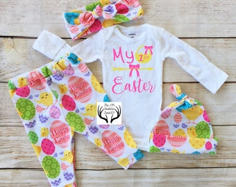 Baby Girl Coming home Outfit, My First Easter, Newborn,Easter Eggs,Bright,Easter Outfits,Easter,My 1st Easter,Eggs,Happy Easter,Baby Girl