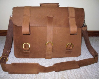 Leather briefcase/backpack, nubuck leather satchel, leather briefcase, leather backpack, large briefcase, leather travel bag, field bag