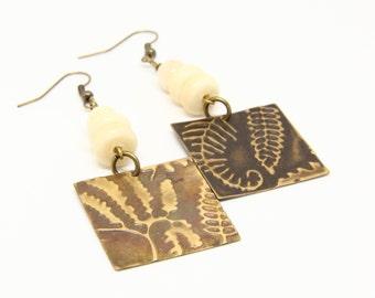 Emboss copper earrings with bone beads/Handmade copper earrings