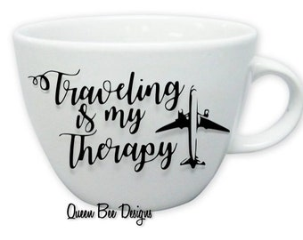 Customizable Traveling is my Therapy Mug-Plane, Paris or London