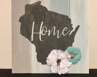 Hand Painted Wisconsin Wood Plank Sign