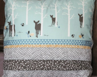 Woodland deer themed 16 x 16 inch decorative baby pillow