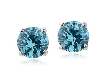 Sterling Silver Earrings Swarovski with Aquamarine Elements