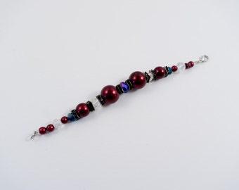 Burgundy, Purple, and Silver Beaded Bracelet