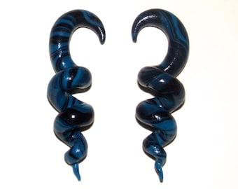 Black and Blue Corkscrew Spiral 6 Gauge 4mm Handmade Clay Earrings