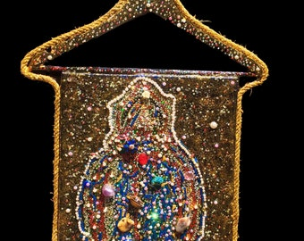 Escarabajo - Hand embellished with acrylic on canvas and a collage of pearl, Swarovski blingie beads and a hanger!