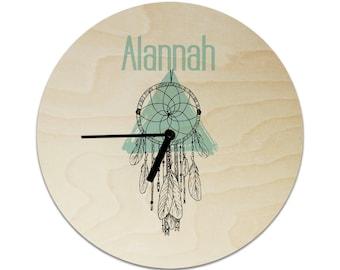 Tribal Dreamcatcher Personalised Childrens Clock / Kids Clock