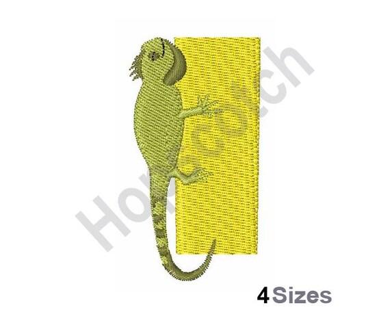 Animal alphabet i iguana machine embroidery design from