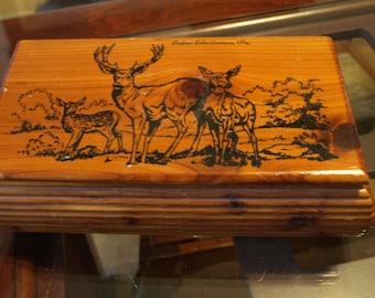 Cedar Keepsake / Jewelry Box with Deer Print from Indian Echo Caverns, PA
