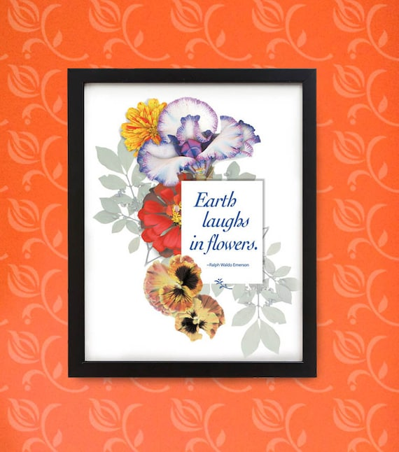 Happy flowers in wood frame. Typography for gardeners and flower lovers. Framed digital print for wall or desk.