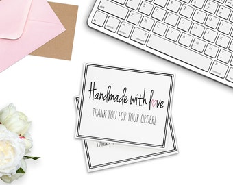 """Printable Mini Thank You Cards (6 Per Sheet) 8.5"""" x 11"""" DIGITAL DOWNLOAD Handmade With Love 