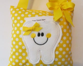 Tooth Fairy Pillow, Yellow Polka dot, ready to ship