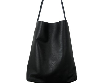 LARGE LEATHER TOTE Bag, Oversize Black Leather Tote, Cross body Shoulder Tote, 15-inch Laptop Tote, Italian Black Leather Tote - Dublin -