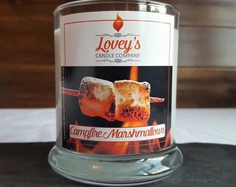 Campfire Marshmallow Scented Soy Candle - Sweet - Smokey - Birthday Gift - Housewarming Gift - Wedding Gift - Hand Poured Soy Candle