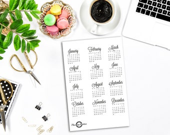 Year at a glance, Calendar 2017 2018, Full Year 2017 2018,  Bullet Journal Stickers, Planner Stickers, Monthly Calendar