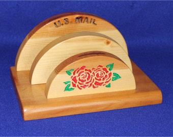 Letter/Bill Holder - Pine wood (roses)