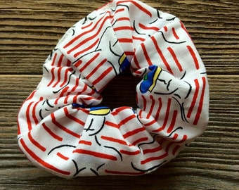 sailor print hair scrunchie, red white blue, sailor, cotton, hair accessories, printed