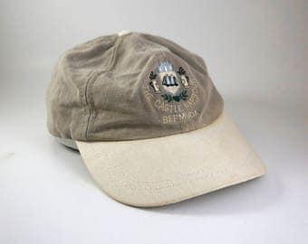 Vintage Bermuda Adjustable Strapback Golf Hat Cap // 90s Low Profile Dad Hat // Castle Embroidered Cap // Golf Tournament