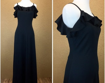 80's Black Fitted Maxi Dress