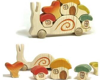 Snail with houses - Waldorf toys, Wooden toys, Montessori toys, Wooden houses, Developmental toys, Tactile toys, Wooden puzzle, Puzzle