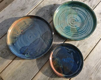 Hand thrown stoneware pottery dinnerware Plates and Platters