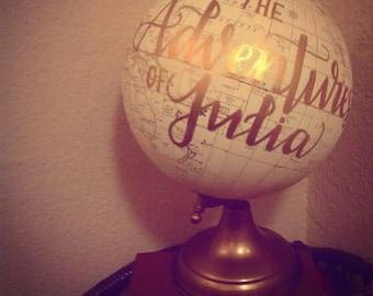 """Personalized 8"""" Globe, Cream & Gold"""