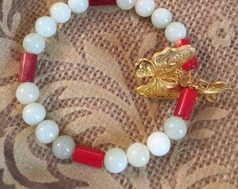 USA FREE SHIPPING- Butterfly- New Jade Sea Green and Red Coral Tube Spacer Bracelet