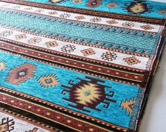 by the 10 Meters,Yards,Chenille,Jacquard, Ethnic,Turkish,Ottoman Chenille Upholstery Fabric,Velvet Fabric,Kilim Fabric,Cream,Turqoise