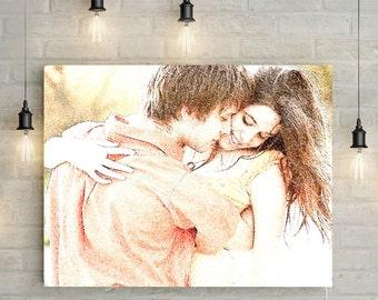 Custom Couples Portrait - Digital Pen Effect, Canvas or Printable