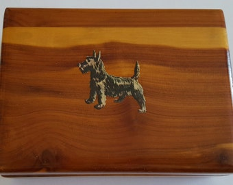 Vintage Wooden Trinket Box or Jewelry Box with Scottie Dog Decal