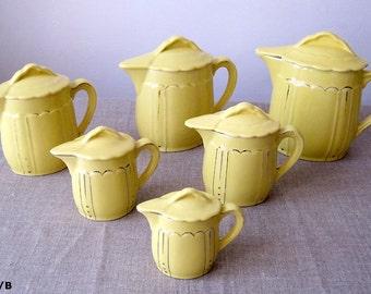 6 carafes to lids old yellow earthenware. Jug. Broc. Pichet.Verseuse.Ceramic Pitcher, Vintage Decorative Drinkware, Pitcher
