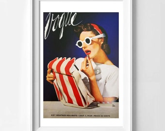 Poster poster cover of vogue usa vintage, feminine and original poster for the House.