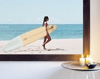 Poster poster surfer on beach home decor original and feminine. Made on gloss paper