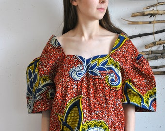 Vintage womens blouse 1990s 1980s abstract figures design green yelllow print tank shirt