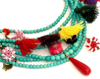 Turquoise and Oya (Turkish Lace) Necklace