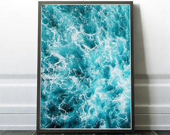 Modern Art Prints, Wave Decor, Beach Poster Art, Aqua Marine Print, Waves Wall Print, Sea Artwork, Ocean Artwork Prints, Instant Download